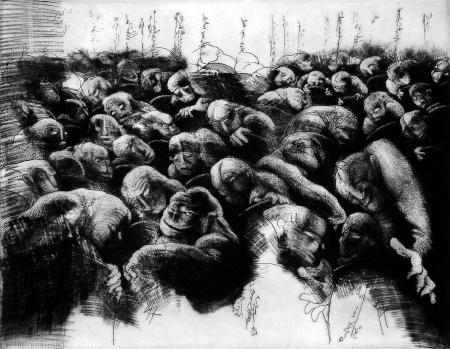 (cat.nr. 101) Public murmuring, 2011. <br/>Etching and mezzotint, plate 32 x 41 cm (paper 50 x 70 cm).