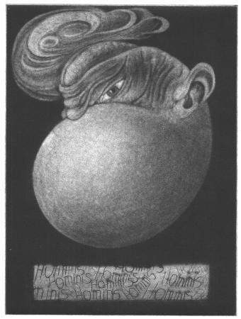 (cat.nr. 102) Eggman. <br/>Etching, mezzotint and drypoint, plate 19.7 x 14.8 cm (40 x 30 cm).