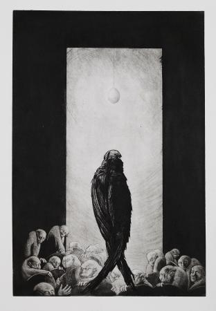 (cat.nr. 115) Oracle, 2012. Etching and aquatint on zinc <br/> elaborated with burnisher, plate 59 x 40 cm ( paper 80 x 60 cm).