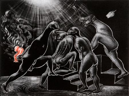 (cat.nr. 138) The offering, 2014. Aquatint elaborated  <br/>with burnisher on zinc, plate 29.5 x 39.5 cm (paper 60 x 81 cm).
