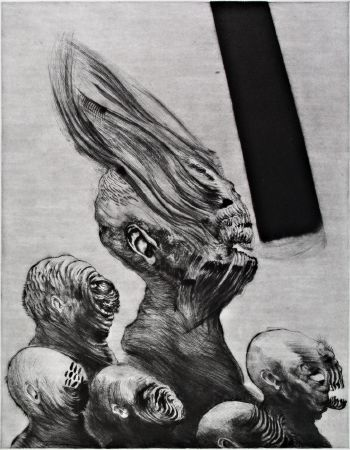 False Prophet, 2012. Drypoint with some mezzotint detailing, <br />plate 54 x 34.5 cm (plate 80 x 60 cm).