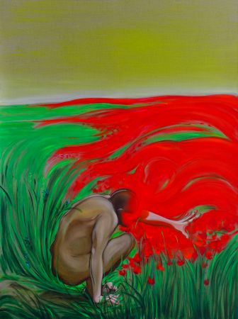 The discovery of red, 2014. Oil on canvas, 150 x 120 cm.