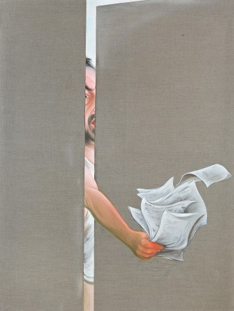You signed?, 2003. Oil on canvas, 180 x 135 cm.