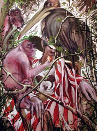 St. Jerome and friends, 1992. Oil and tempera on canvas, 180 x 135 cm.