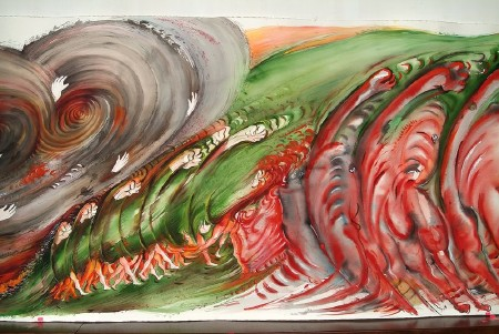 The Paradox of Flight (9/18) — Encounter with Crowd, 2004. 115 x 3000 cm.