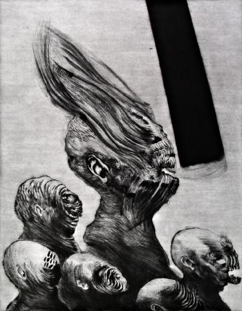 (cat.nr. 109) False prophet, 2012. Drypoint with some mezzotint detailing, plate 54 x 34.5 cm (plate 80 x 60 cm).